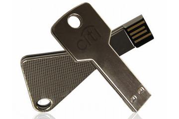 รับทำ slim flash drive แฟลชไดร์ฟโลหะบางพิเศษ รูปกุญแจ พร้อมยิงเลเซอร์โลโก้