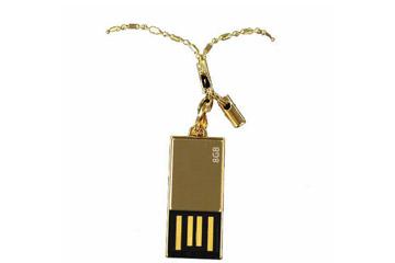รับผลิต แฟลชไดร์ฟบางพิเศษ เคสสีทอง flash drive อันเล็ก ใช้เป็นจี้ห้อยคอ ดูหรูหรา