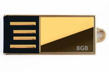 สั่งทำ แฟลชไดร์ฟบางพิเศษ เคสสีทอง flash drive อันเล็ก ใช้เป็นจี้ห้อยคอ ดูหรูหรา