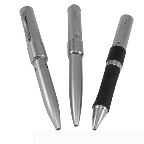แฟลชไดร์ฟปากกา วัสดุอะลูมิเนียม สีเงินล้วน ด้ามใหญ่พอดีมือ ราคาโรงงาน