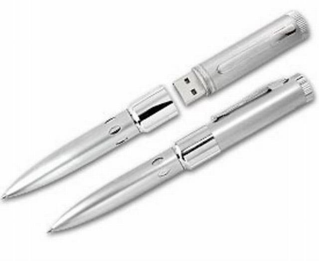 ปากกาแฟลชไดร์ฟราคาส่ง ตัวเรือนอะลูมิเนียม สีเงิน ดูหรูหรา พร้อมสกรีนโลโก้
