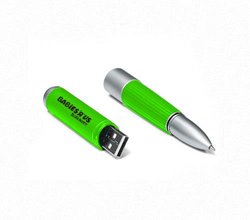 แฟลชไดร์ฟปากกา แบบโลหะสลับพลาสติก สีสันสดใส ดูสวยงาม มียางกันลื่น