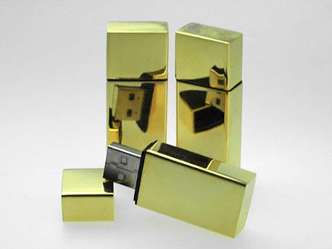 รับผลิต แฟลชไดร์ฟพรีเมี่ยมแบบเหล็กโลหะ สั่งทำ แฟลชไดร์ฟ สีทอง พร้อมสกรีนโลโก้