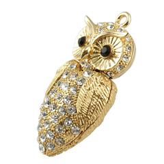 รับทำ แฟลชไดร์ฟจิวเวลรี่สีทอง รูปหัวใจ ฝังคริสตัลเทียม เป็นแบบที่มีฝาปิดรูปนกฮูก
