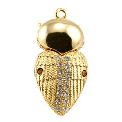รับผลิต แฟลชไดร์ฟจิวเวลรี่สีทอง รูปหัวใจ ฝังคริสตัลเทียม เป็นแบบที่มีฝาปิดรูปนกฮูก