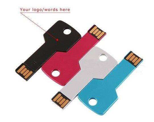แฟลไดร์ฟโลหะ รูปกุญแจ แบบบาง รับผลิต Flash Drive สกรีนโลโก้ ราคาถูก