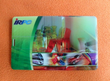 แฟลชไดร์ฟนามบัตร IRPC พิมพ์หน้าหลัง รับผลิต thumb drive card ราคาถูก