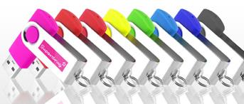 ขายแฟลชไดร์ฟแบบหมุน เคสโลหะสลับพลาสติก สีสวย มีให้เลือกหลายรูปแบบ