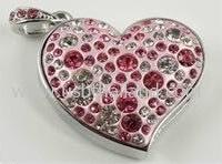 แฟลชไดร์ฟแบบจิวลี่ ประดับเพชร รูปหัวใจ ทรัมไดร์ฟแบบสั่งผลิต ราคาโรงงาน