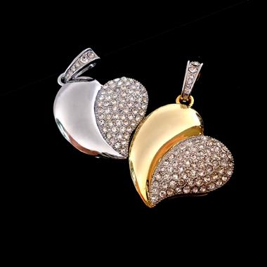 แฟลชไดร์ฟจิวเวลรี่ จี้รูปหัวใจ คล้ายผลแอปเปิ้ล งานประดับเพชรสลับผิวมันเงา