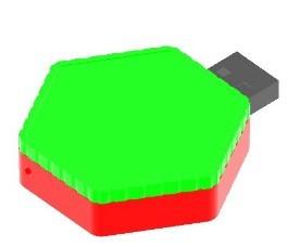 พวงกุญแจแฟลชไดร์ฟพลาสติก รูปหกเหลี่ยม Hexagon keyring thumb drive