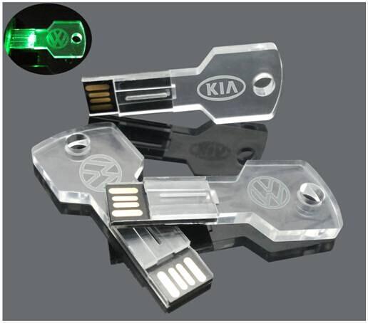 แฟลชไดร์ฟเรืองแสง flash-drive อะคริลิคใส รูปกุญแจรถแบบบาง สกรีนโลโก้