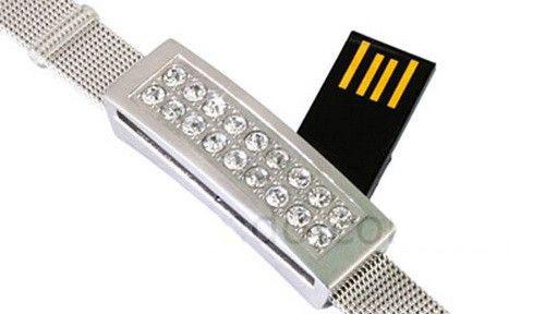กำไลข้อมือแฟลชไดร์ฟ ประดับคริสตัล USB สร้อยข้อมือโลหะสีเงิน ฝังเพชร