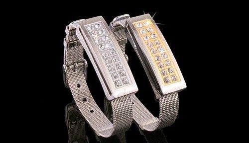 รับทำ กำไลข้อมือแฟลชไดร์ฟ ประดับคริสตัล USB สร้อยข้อมือโลหะสีเงิน ฝังเพชร