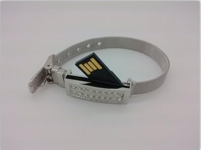 สั่งทำ กำไลข้อมือแฟลชไดร์ฟ ประดับคริสตัล USB สร้อยข้อมือโลหะสีเงิน ฝังเพชร