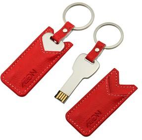 แฟลชไดร์ฟกุญแจ พร้อมซองหนังสีแดง ปั้มโลโก้ รับผลิตตามแบบ ราคาโรงงาน