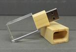 แฟลชไดร์ฟแก้วคริสตัล ฝาไม้ สวยงาม รับผลิต Flash Drive สลักโลโก้ ราคาส่ง 2