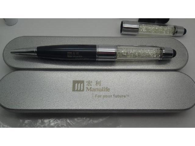 แฟลชไดร์ฟปากกาคริสตัล  สั่งทำ ปากกาแฟลชไดร์ฟคริสตัล พร้อมกล่องเหล็ก 1