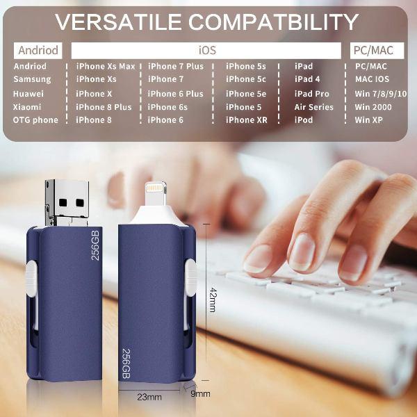 แฟลชไดร์ฟไอโฟน USB Flash Drive iPhone 256GB External Storage