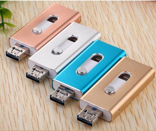 แฟลชไดร์ฟ OTG 3 in 1 ต่อมือถือไอโฟน และโทรศัพท์แอนดรอยด์ได้