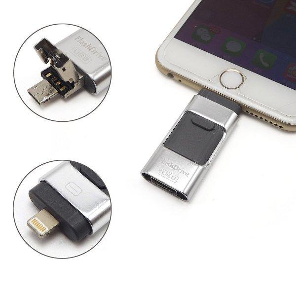 รับผลิต ขายแฟลชไดร์ฟเสียบมือถือไอโฟน Flash Drive OTG 3-in-1 ราคาถูก