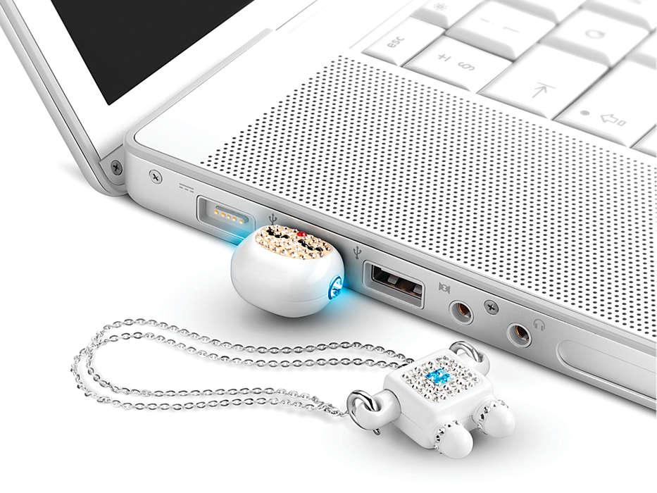 รับผลิต แฟลชไดร์ฟหุ่นยนต์ ติดคริสตัล Robot Crystal USB Memory Key