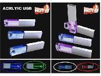 แฟลชไดร์ฟ คริสตัล เรืองแสง Flash Drive แบบพลาสติกอะคริลิค Acrylic USB