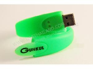 โรงงานผลิต แฟลชไดร์ฟสายรัดข้อมือ สกรีนโลโก้ บริษัท GUNKUL ราคาถูก